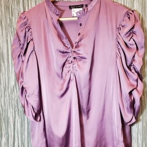 NWT VIOLET & CLAIRE Satin-Like Blouse with Scrunc